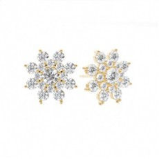 Prong Setting Round Diamond Cluster Earrings - CLER103_01