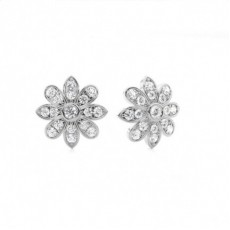 Prong Setting Round Diamond Cluster Earrings - CLER106_01