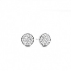 Pave Setting Round Diamond Cluster Earrings - CLER108_01
