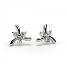 2 Prong Setting Round Diamond Designer Stud Earrings - CLER112_01