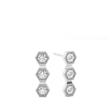 Boucles d'oreilles halo diamant coussin serti 4 griffes