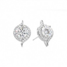 4 Prong Setting Halo Stud Earring - CLER117_01