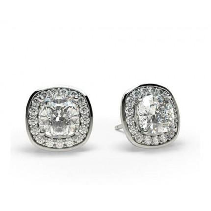 White Gold Cushion Diamond Halo Earring