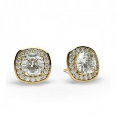 Yellow Gold Halo Earrings