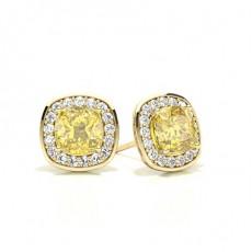 Cushion Yellow Gold Halo Earrings