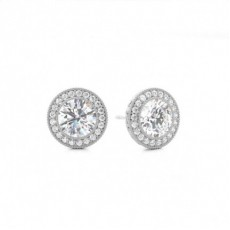 Full Bezel Setting Halo Stud Earring (Available from 1.40ct. to 1.60ct.)
