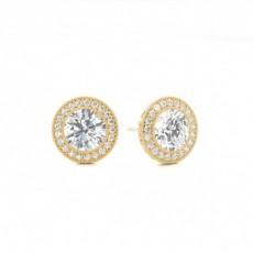 Boucles d'oreilles halo diamant rond serti clos - CLER119_01