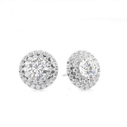 White Gold Round Diamond Halo Earrings