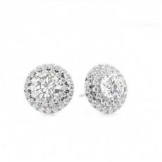 White Gold Round Diamond Halo Earring - CLER120_01