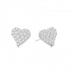 Prong Setting Round Diamond Cluster Earrings - CLER121_01