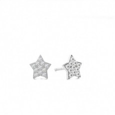 Prong Setting Round Diamond Cluster Earrings - CLER123_01