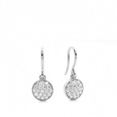 Pave Setting Round Diamond Cluster Earrings - CLER125_01