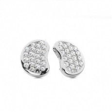 Prong Setting Round Diamond Cluster Earrings - CLER126_01