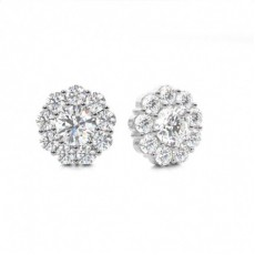 4 Prong Setting Round Diamond Cluster Earrings - CLER127_01