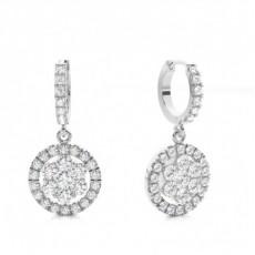 Boucles d'oreilles illusion diamant rond serti pavé 1.29ct