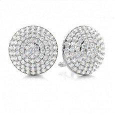 Prong Setting Round Diamond Cluster Earrings - CLER131_01