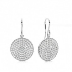 White Gold Round Diamond Cluster Earring - CLER132_01
