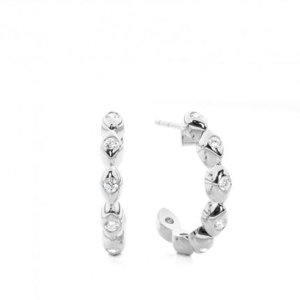 Runde Diamant Designer Ohrringe in einer Zargenfassung