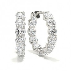 White Gold Round Diamond Hoop Earring - CLER135_01