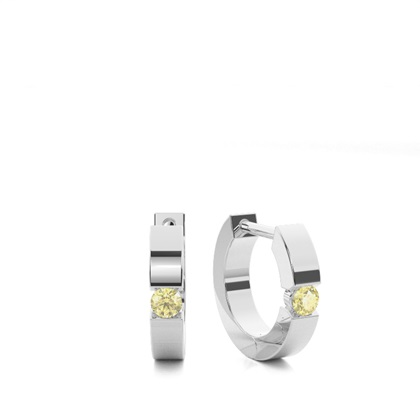 Tension Set Yellow Diamond Hoop Earring