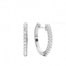 4 Prong Setting Round Diamond Hoop Earrings