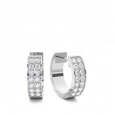 White Gold Round Diamond Hoop Earring - CLER139_01
