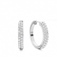 4 Prong Setting Round Diamond Hoop Earring - CLER140_01