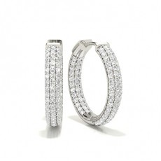 White Gold Round Diamond Hoop Earring - CLER141_01