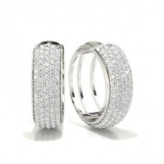 White Gold Round Diamond Hoop Earring - CLER142_01