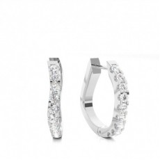 White Gold Round Diamond Hoop Earring - CLER145_01
