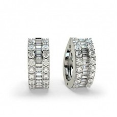 4 Prong Setting Round & Baguette Diamond Hoop Earrings