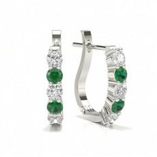 Runder Diamant Smaragd Creolen