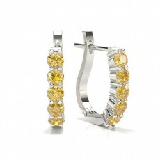 Prong Set Yellow Diamond Hoop Earring
