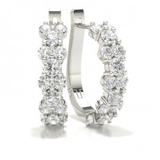 White Gold Round Diamond Hoop Earring - CLER156_01