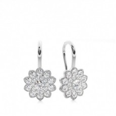 Pave Setting Round Diamond Cluster Earrings - CLER161_01