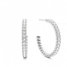 White Gold Round Diamond Drop Earring - CLER165_01