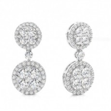 White Gold Round Diamond Cluster Earring - CLER166_01