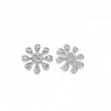 White Gold Round Diamond Cluster Earring - CLER169_01