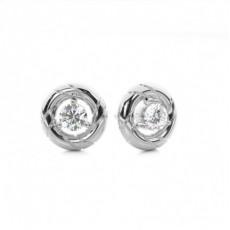 Puces d'oreilles diamant rond serti 3 griffes - CLER170_01