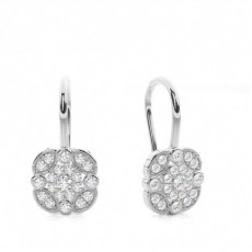 White Gold Round Diamond Cluster Earring - CLER172_01
