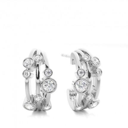 Boucles d'oreilles illusion diamant rond serti griffes