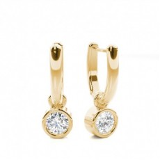 Round Yellow Gold Drop Earrings