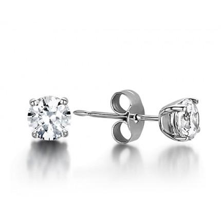 4 Prong Setting Round Diamond Stud Earring