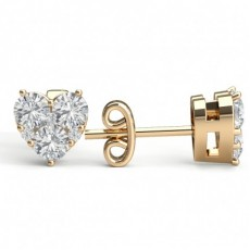 Prong Setting Round Diamond Cluster Earrings - CLER185_01