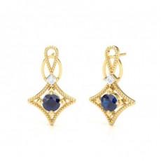 4 Prong Setting Blue Sapphire Designer Stud Earrings - CLER193_BS_01