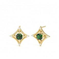 4 Prong Setting Emerald Designer Stud Earrings - CLER195_EM_01
