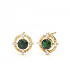 4 Prong Setting Emerald Designer Stud Earrings - CLER196_EM_01