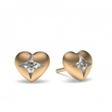 Rose Gold Round Diamond Delicate Earrings - CLER199R_01