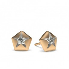 Rose Gold Round Diamond Delicate Earrings - CLER200R_01