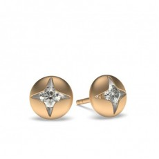 Rose Gold Round Diamond Delicate Earrings